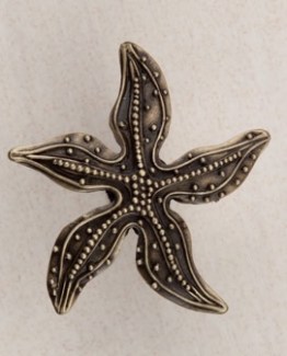 Acorn Manufacturing Beaded Starfish Cabinet Knob Antique Brass