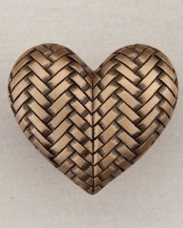 Acorn Manufacturing Woven Heart Cabinet Knob Museum Gold
