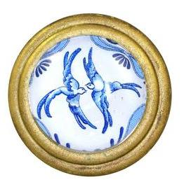 Charleston Knob Company Blue and White Birds Brass Cabinet Knob
