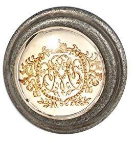 Charleston Knob Company Gold Regal emblem Silver Base Cabinet Knob