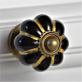 Charleston Knob Company Black Gold Melon Ceramic Cabinet Knob