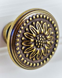 Charleston Knob Company Antique Copper Floral Cabinet Knob