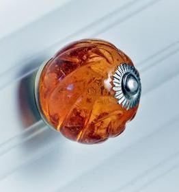 Charleston Knob Company Amber Crystal Glass Cabinet Knob