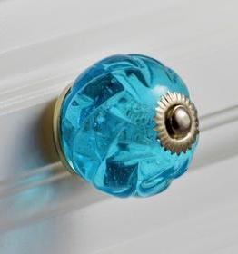 Charleston Knob Company Aqua Blue Crystal Glass Cabinet Knob