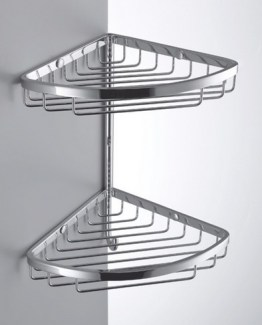 Colombo Designs Large Double Corner Shower Basket w/ Hook-Chrome