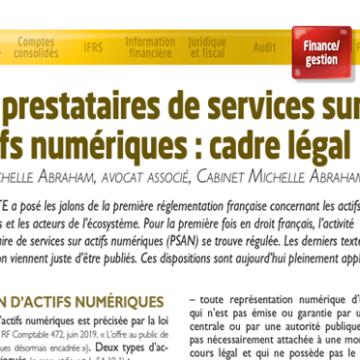 Les prestataires de services sur actifs numériques : cadre légal