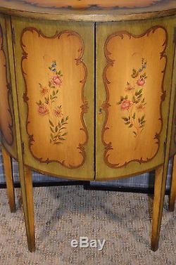 Antiquevintage Hand Painted 2 Door Demi Lune Florentine Style Accent Cabinet
