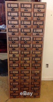 Vintage Oak Wooden 84 Drawer Library Card Catalog Cabinet Yale