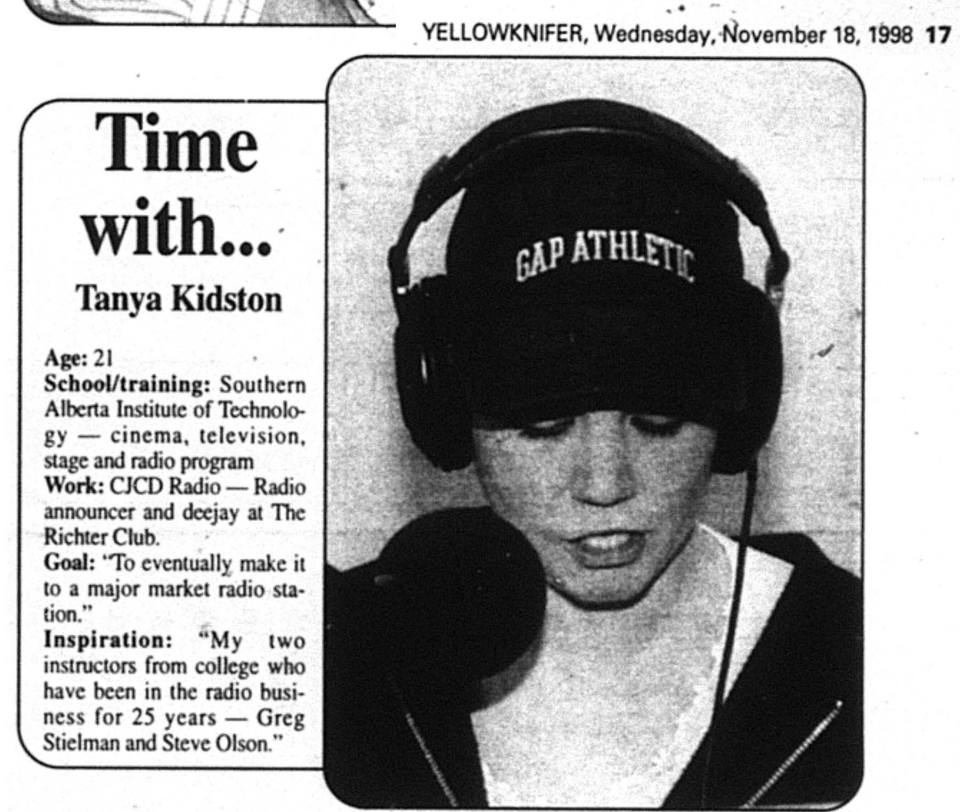 Tanya Kidston profiled in Yellowknifer, 1998