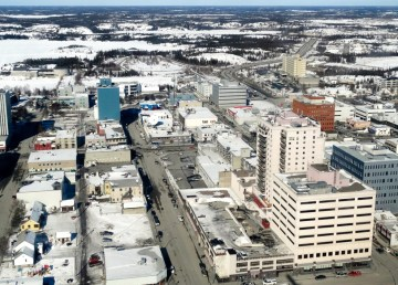 An aerial view of downtown Yellowknife