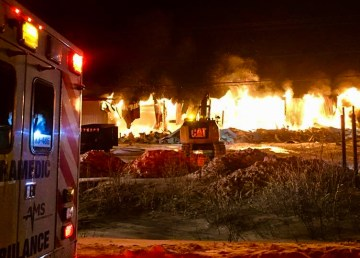 Fire burns at an Inuvik ambulance base owned by Advanced Medical Solutions Inc - AMS Facebook