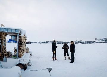 Yellowknife floating sauna project leaders Tyler Fissel, Peter Kelly and Thomas Whittaker