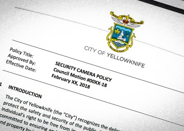 The front page of a new City of Yellowknife draft security camera policy