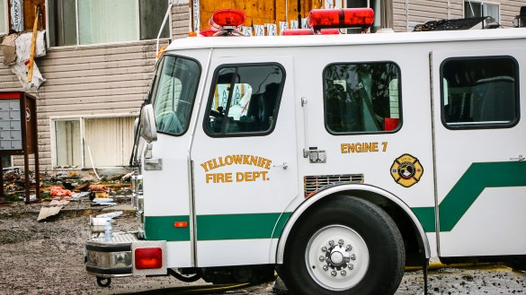 A Yellowknife fire division truck responds to a call in 2015