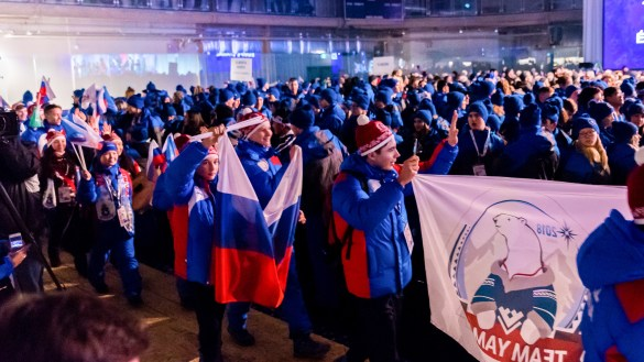 Yamal athletes march in at the 2018 Arctic Winter Games opening ceremony in Hay River - AWG2018-Brian Collins