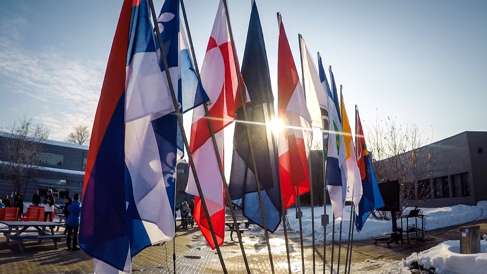 Flags at the 2018 Arctic Winter Games opening ceremony in Fort Smith