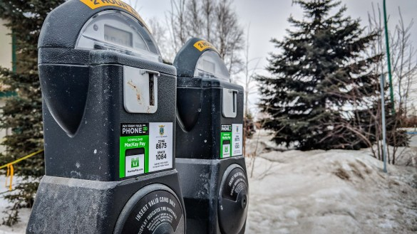 Parking meters in downtown Yellowknife