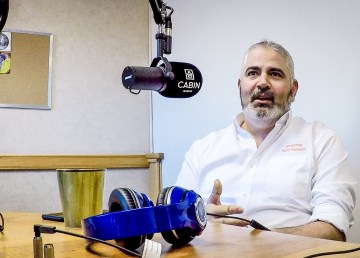 Rami Kassem, owner of Javaroma, in the Cabin Radio studio