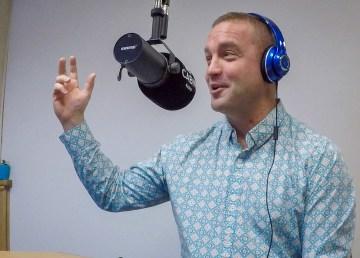 Yellowknifer diver Jeremy MacDonald in the Cabin Radio studio