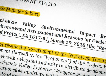 A section of a letter addressed to Minister Louis Sebert on behalf of the territorial government in April 2018