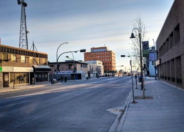 Yellowknife's downtown on a May morning in 2018