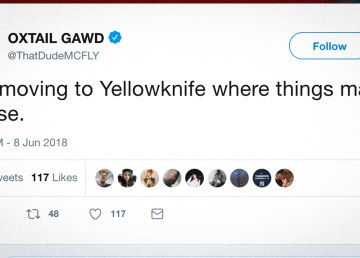 A screengrab of a tweet declaring an ambition to move to Yellowknife following the Ontario election result in June 2018