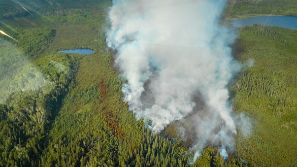 An aerial view of a fire outside Fort Liard, posted to the NWT Fire Twitter page on June 20, 2018