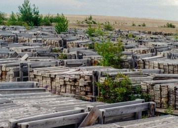 Drill cores at the former Pine Point mine are seen in a photo from September 1995 - Mike Beauregard-Wikimedia