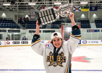 Fort Smith's Kiah Vail poses with the national hockey Esso Cup in April