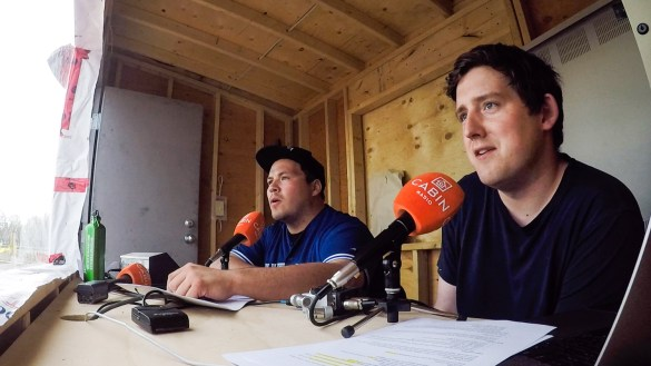 Jesse and Ollie in the booth at Yellowknife's Tommy Forrest Ballpark