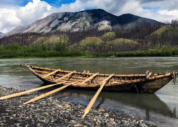 A mooseskin boat built by a team of people in the Nahanni