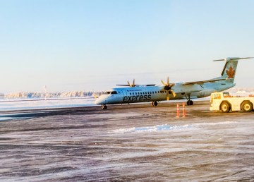 An Air Canada Express flight at Yellowknife Airport in early 2018