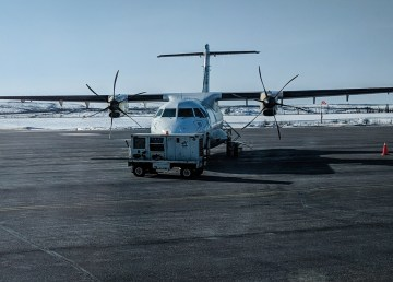 An aircraft parked at Yellowknife Airport in early 2018