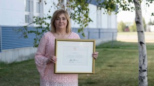 Hay River Principal Carolyn Carroll was awarded the Polar Medal for over 30 years of dedication to education in the NWT. Sarah Pruys/South Slave Divisional Education Council.