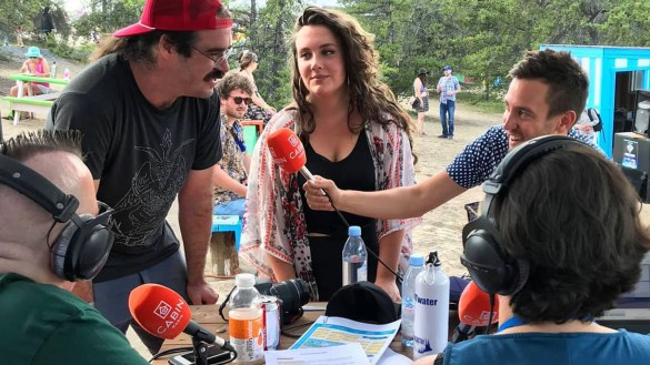 Jay Bear, left, and attemptress interview Major Funk and the Employment at Folk on the Rocks 2018