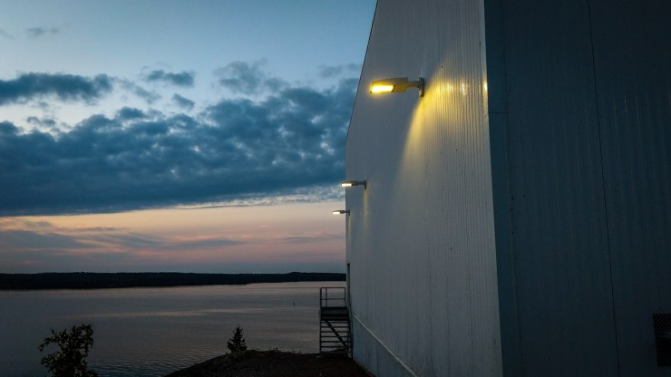 Security lights on the School Draw Avenue side of Yellowknife's water treatment plant