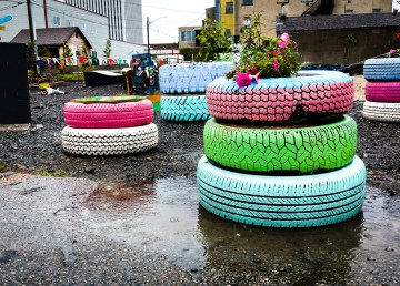 Yellowknife's deserted pop-up park languishes in rain during holiday Monday, August 6, 2018