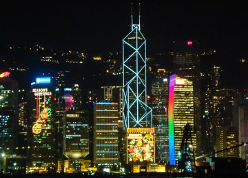A file photo of Hong Kong skyscrapers decorated for Christmas