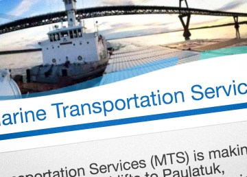 A screengrab of the territorial government's Marine Transportation Services webpage
