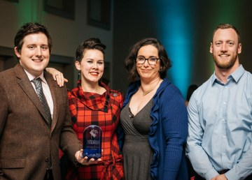 Cabin Radio's Ollie Williams, Adrienne Cartwright, Kate Reid, and AJ Goodwin with the 2018 Breakout New Business award