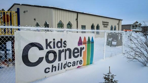 A banner for Kids Corner childcare outside the premises of the Cornerstone Pentecostal Church in November 2018