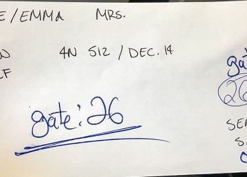 Emma Pike's photo of her boarding pass for a flight from Ottawa to Yellowknife in December 2018