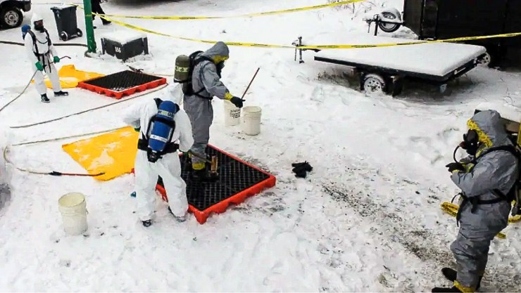 RCMP in protective gear outside a Borden Drive house in December 2016 after the discovery of furanyl fentanyl