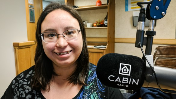 Sandra Noel is pictured in Cabin Radio's Studio 1 in December 2018