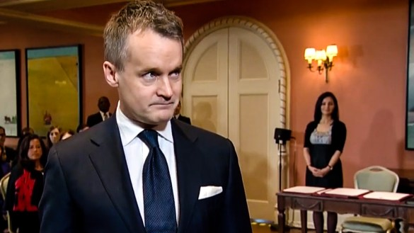 Seamus O'Regan attends a swearing-in ceremony for his new role as Indigenous Services minister on January 14, 2019