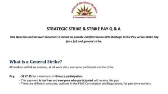 A screenshot of a UNW document setting out strike plans to members