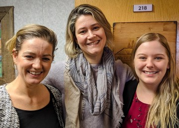 From left: Stephanie Vandeputte, Maureen Van Overliw, and Deneen Everett in Cabin Radio in February 2019.