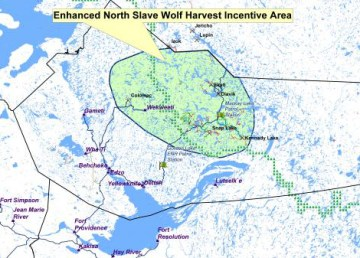 The enhanced North Slave wolf harvest incentive area is shown in green. Department of Environment and Natural Resources/Photo