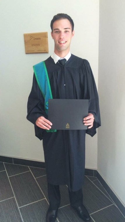 Zach McKillop graduated from Sault College's School of Aviation. Submitted photo.