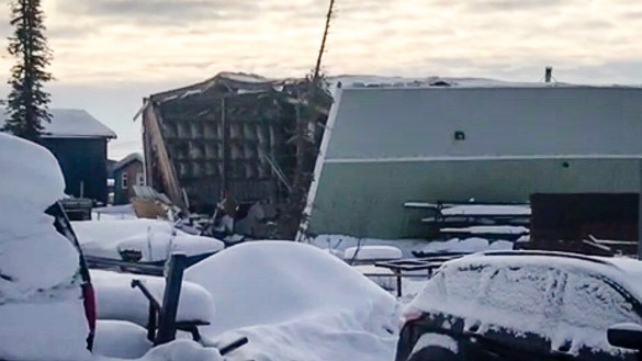A photo of damage sustained to an Inuvik building in an explosion on March 13, 2019